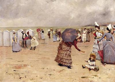 Sailor Hat Painting - Elegant Figures On A Beach by William Feron