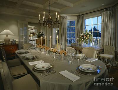 Elegant Formal Dining Setting Art Print By Robert Pisano