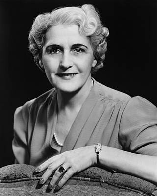 Elegant Mature Woman Smiling, (b&w), Portrait Art Print by George Marks