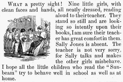 Elementary School, 1860 Art Print by Granger