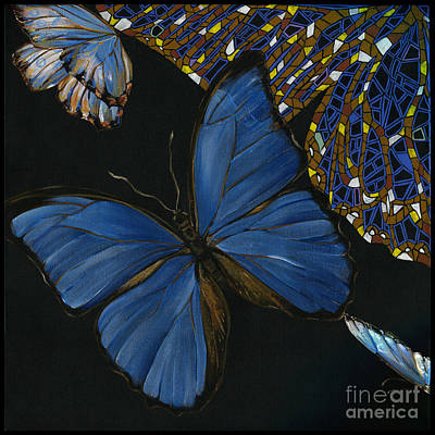 Art Print featuring the painting Elena Yakubovich - Butterfly 2x2 Lower Left Corner by Elena Yakubovich