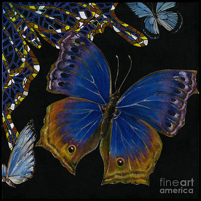 Art Print featuring the painting Elena Yakubovich - Butterfly 2x2 Lower Right Corner by Elena Yakubovich