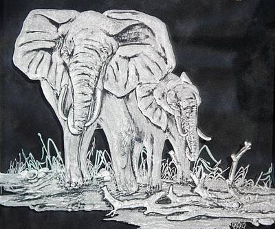 Carved Glass Painting - Elephant And Calf by Akoko Okeyo