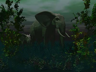 Loxodanta Digital Art - Elephant And Calf by Tea Aira