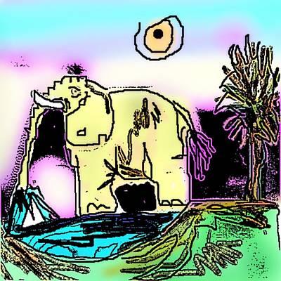 Litho Digital Art - Elephant At Pond by Jamie ian Smith