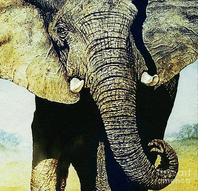 Art Print featuring the painting Elephant Close-up by Hartmut Jager