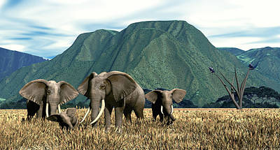 Digital Art - Elephant Country by Walter Colvin