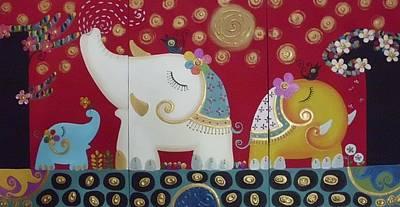 Elephant Family. Art Print by Suwannee Wannasopha