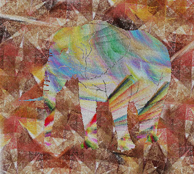 Stained Glass Digital Art - Elephant II by Betsy Knapp
