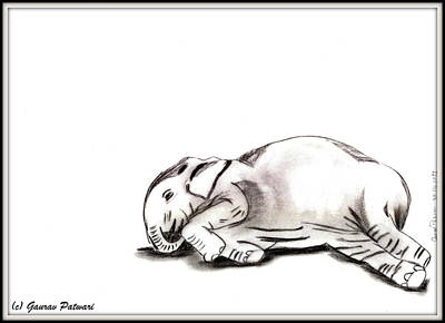 Master Piece Drawing - Elephant In A Corner by Gaurav Patwari