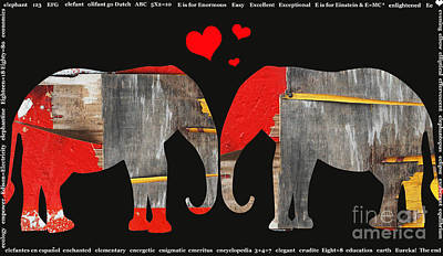 Anahi Decanio Mixed Media - Elephant Love Kids Licensing Art by Anahi DeCanio