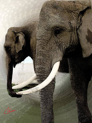 Hera Painting - Elephant Meet by Colette V Hera  Guggenheim