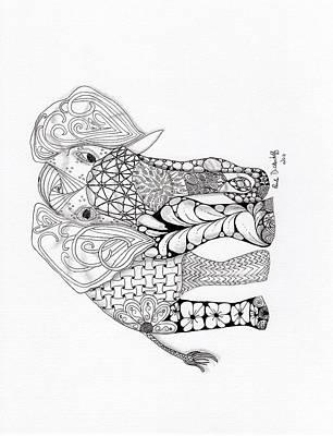 Zentangles Drawing - Elephant by Paula Dickerhoff