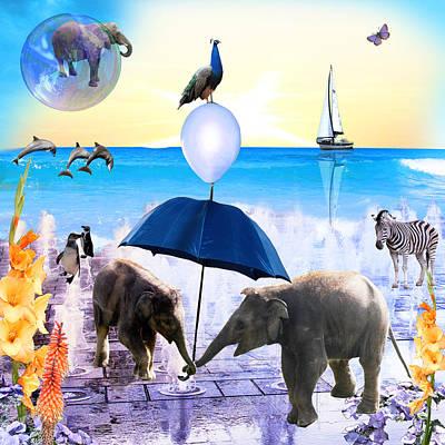 Fantasy Digital Art - Elephant Splash by Emily Campbell
