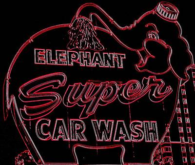 Car Wash Photograph - Elephant Super Car Wash Neon by Randall Weidner