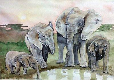 Painting - Elephants For Mum. by Paula Steffensen