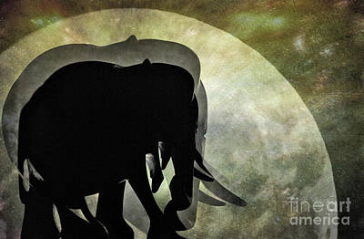 Elephants On Moonlight Walk 2 Art Print by Kaye Menner