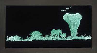 Carved Glass Painting - Elephants On Safari by Akoko Okeyo