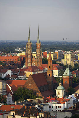 Elevated View Of Wroclaw With Church Spires Art Print by Guy Vanderelst