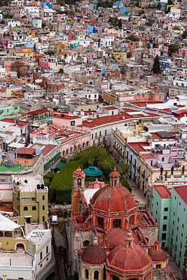 Elevated View Over The City Of Guanajuato In Mexico Art Print by Mint Images/ Art Wolfe