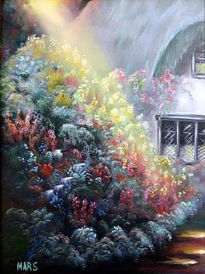 Elglish Garden Cottage Art Print by Peggy Mars