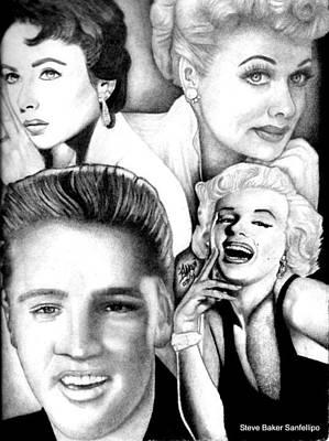 Elizabeth Taylor Drawing - Elizabeth Taylor Lucille Ball Elvis Presley And Marilyn Monroe by Celebrity Portrait Art by Steve Baker Sanfellipo