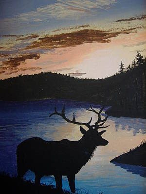 Art Print featuring the painting Elk At Sunset by Norm Starks