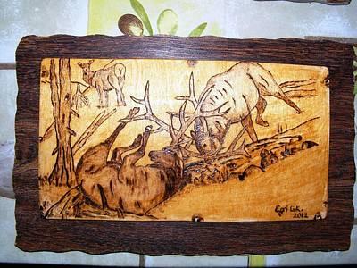 Elk Fightings-wood Pyrography Original