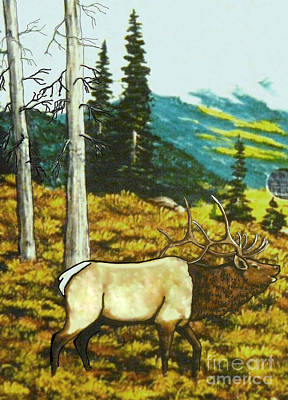 Elk In The Mountains Art Print by Bobbylee Farrier