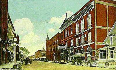 Painting - Elks Temple And Alhambra Theatre In Marion Oh In 1911 by Dwight Goss