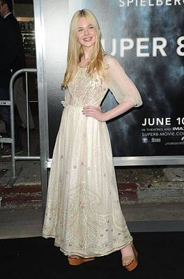 Elle Fanning Wearing A Vintage Dress Print by Everett
