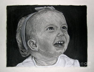Portrait Of A Baby Drawing - Ellie by David Tidy Jr
