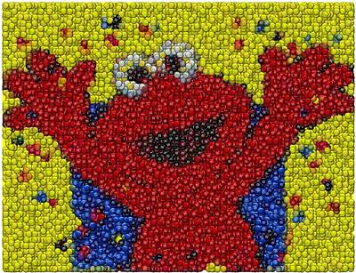 Montage Mixed Media - Elmo Mm Candy Mosaic by Paul Van Scott