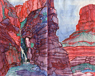 Grand Canyon Drawing - Elves Chasm by Scott Barnes