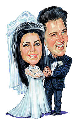 Elvis Presley Painting - Elvis And Priscilla Presley by Art