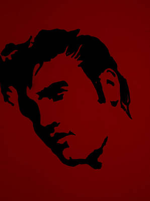 Stencil Of Elvis Drawing - Elvis In Red Satin by Robert Margetts