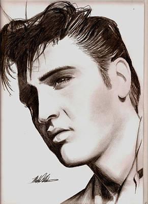 Elvis Presley Drawing Drawing - Elvis by Michael Mestas