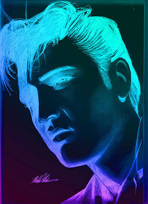 Elvis Neon Art Print by Michael Mestas
