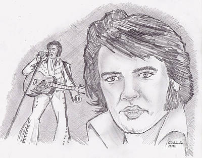 Drawing - Elvis Presley- Older by Chris  DelVecchio