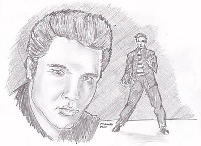 Drawing - Elvis Presley- Young by Chris  DelVecchio