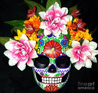 Embroidery Sugar Skull Mask Art Print by Mitza Hurst