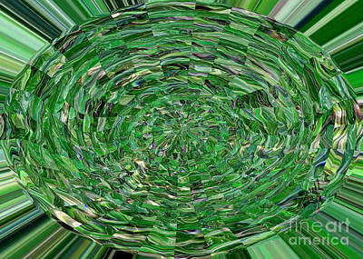 Typographic World - Emerald Abstract by Carol Groenen