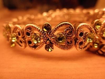 Sterling Silver Bracelet Photograph - Emerald Elegance by Theresa Harrington