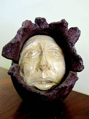 Sculpture - Emerging White Pale Face Born Out Of A Brown Purple Thing Eyes Nose Mouth by Rachel Hershkovitz