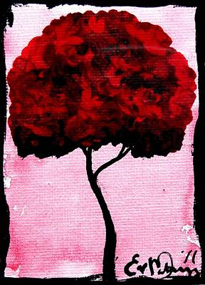 Emily's Trees Red Art Print by Lizzy Love of Oddball Art Co