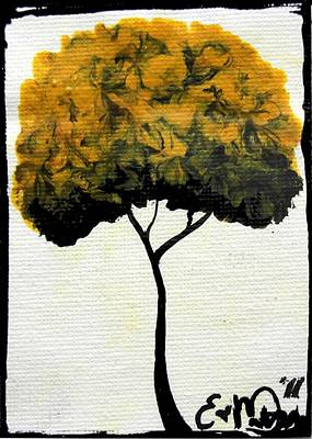 Emily's Trees Yellow Art Print by Oddball Art Co by Lizzy Love