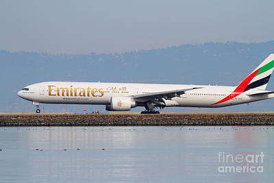 Emirates Airline Jet Airplane At San Francisco International Airport Sfo . 7d12104 Art Print