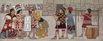 Emissaries Bring Tribute To Inca Art Print by Ned M. Seidler