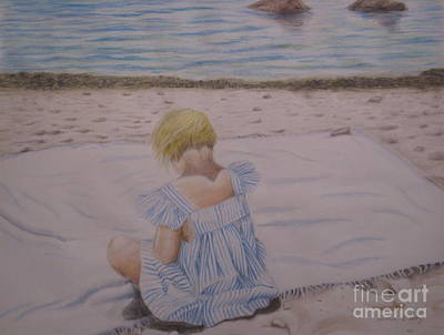 Emma On The Beach Art Print by Heather Perez