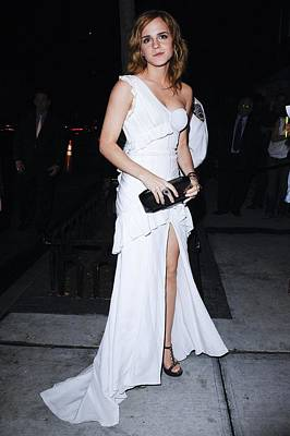 Clutch Bag Photograph - Emma Watson Wearing A White by Everett